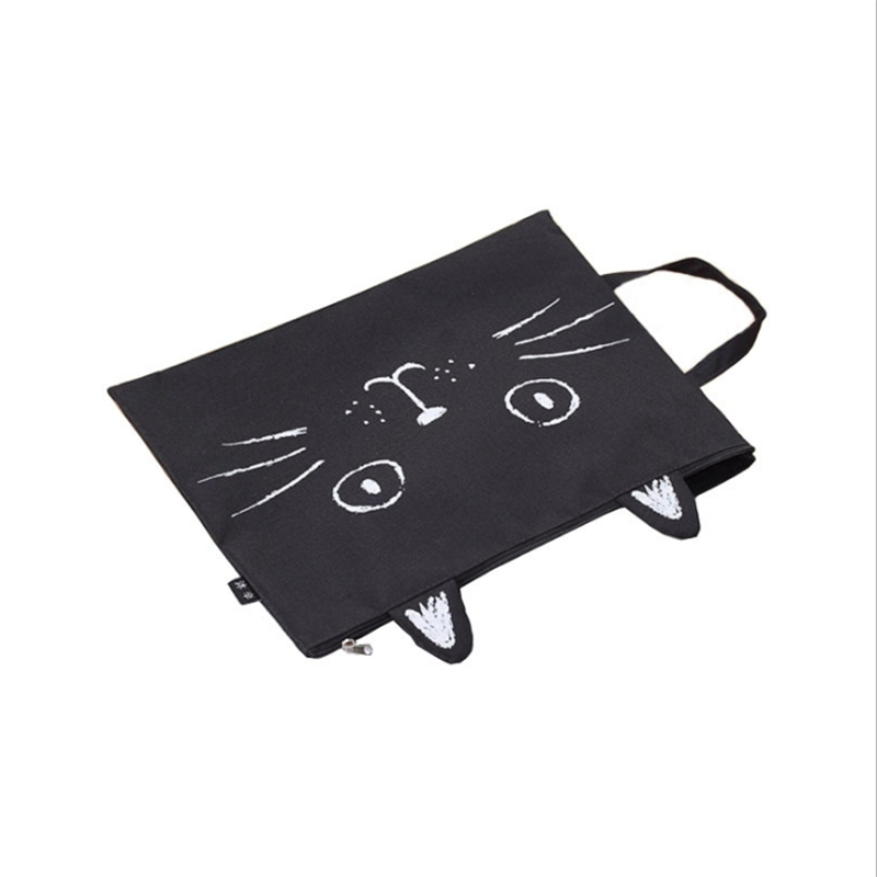 Canvas File Bag Student Cartoon A4 File Package Portable Test Paper Storage Bag Tote Cute Cat Zipper Briefcase