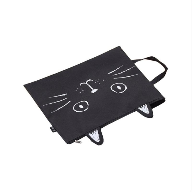 Canvas File Bag Student Cartoon A4 File Package Portable Test Paper Storage Bag Tote Cute Cat Zipper Briefcase