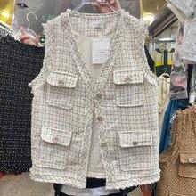 Gilet Sans manches pour femmes, Veste Sans manches, couture à franges, fausse poche en Tweed, tout assorti, ample, 2021