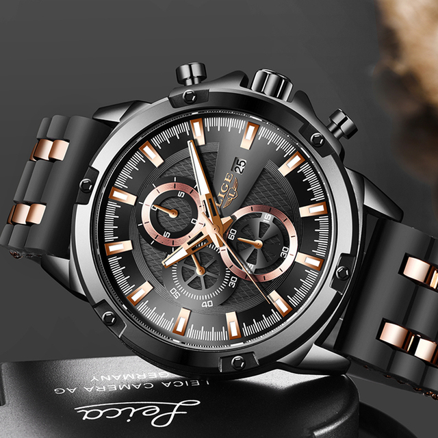 2020 New Mens Watches Top Brand Luxury Watch Men Military Waterproof Silicone strap Quartz Wrist Watch For Men Sport Chronograph 2