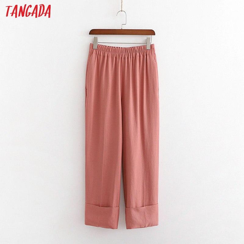Tangada fashion women solid suit pants trousers strethy waist pockets buttons office lady pants pantalon 1D203