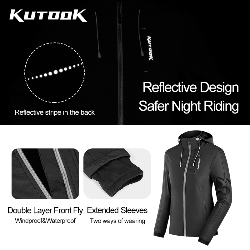KUTOOK Windproof Water Resistant Thermal Fleece Reflective SoftshellJacket with Hood Hiking Running Coat for Women
