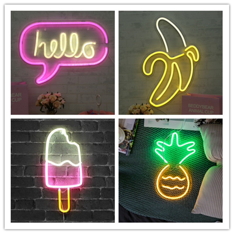 LED Neon Light Neon Sign With Panel Lamps Neon Yellow Christmas Holiday Party Bar Art Decoration Wall Lights Pastry Display