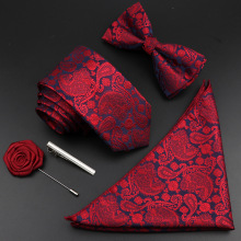 Tie-Set Necktie Groom Business Wedding-Party Silk Men Vintage Blue New Jacquard Woven