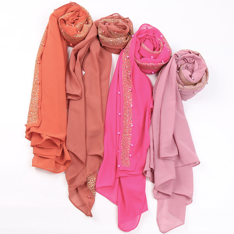 Image 2 - Beads bubble chiffon hijab scarf glitter hijab plain shawls muslim scarves headscarf pearls wraps headband scarves 10pcs/lot-in Women's Scarves from Apparel Accessories
