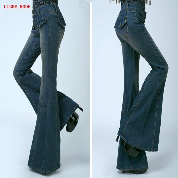 Womens Flare Push Up Jeans Vintage Wide Bell Bottom Skinny Jeans Women Slim Leg Denim Pants Woman High Waist Flared Jeans Femme