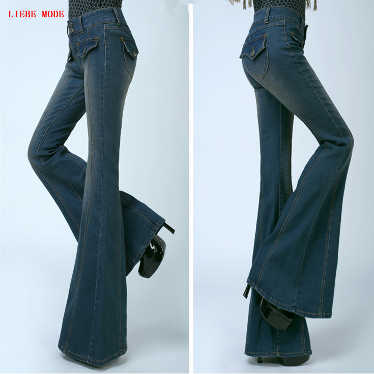 Ladies Flare Push Up Jeans Vintage Wide Bell Bottom Skinny Jeans Women Slim Leg Denim Pants Woman High Waist Flared Jeans Femme