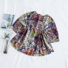 Plus Size Batwing Ethnic Print Women Shirt 2020 Summer Oversize Loose Tee Shirts Female Vintage Chiffon Elegant Lady Tops Tunic