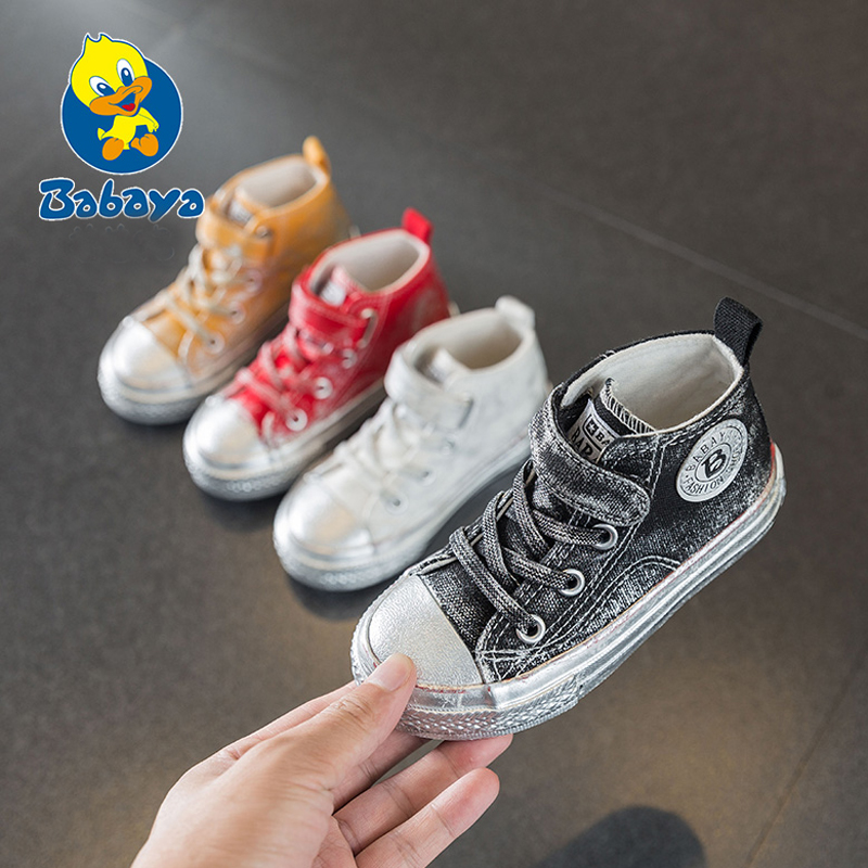Children Shoes Girls Sneaker 2019 Spring Autumn Candy Color Lace-Up Child Canvas Shoes Boys High White Kids Shoes For Girls