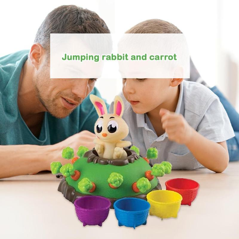 Children's Toy Bunny Electric Jumping Rabbit Pulling Carrot Puzzle Board Game Parent-child Interactive Party Game Funny