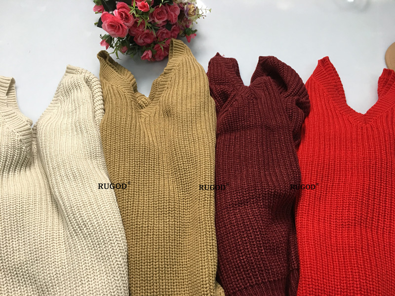 Rugod 19 New Sexy Backless V-neck Sweater Women Pullover Autumn Winter Casual Knitted Sweater Femme Tricot Pullover Jumpers 13