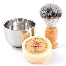 New Men's Shaving Set Synthetic Badger Hair Brush + Mini Mug Bowl Cup + Shaving Soap Gift