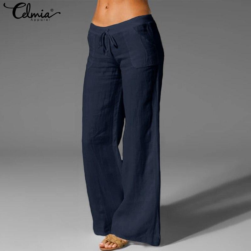Celmia Women Vintage Wide Leg Pants Casual Linen Trousers 2020 Female Elastic Waist Loose Palazzo Long Pantalon Femme Plus Size