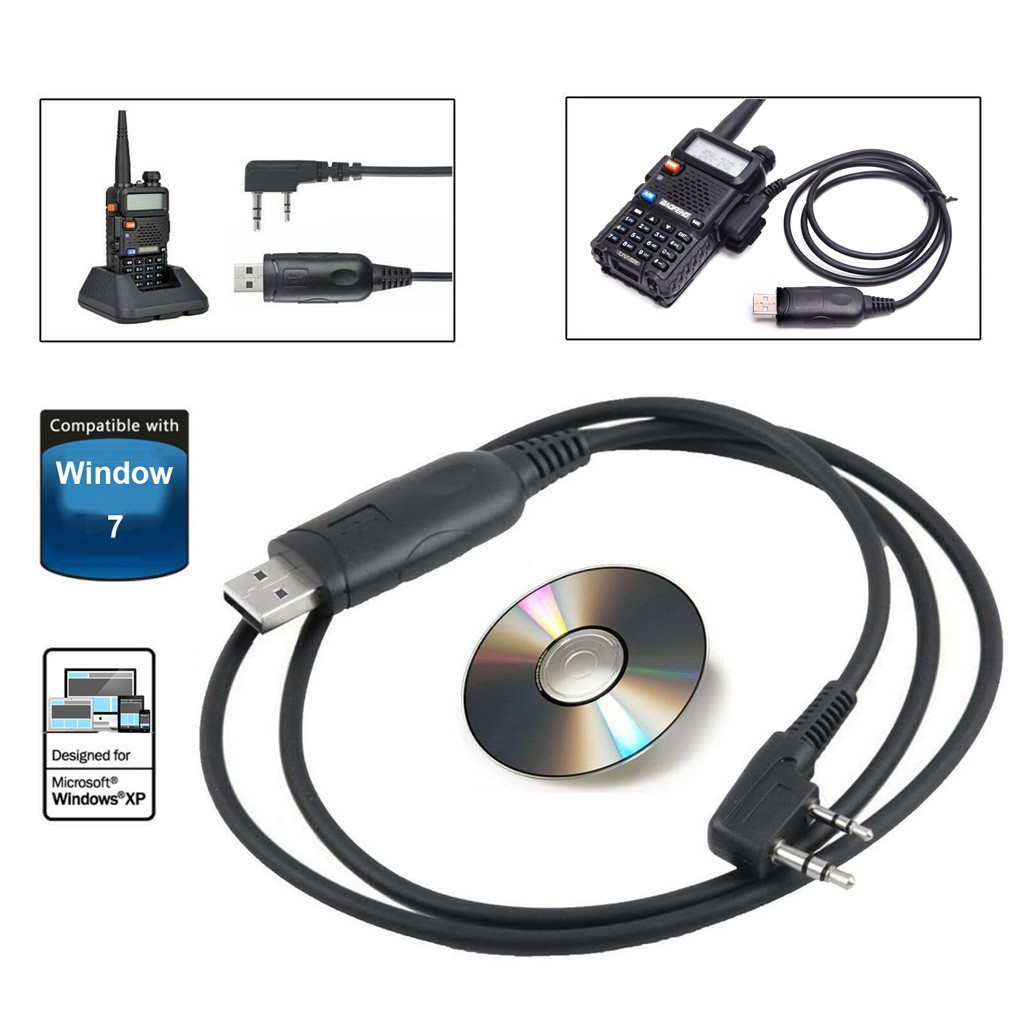 The Connection Baofeng Portable USB Programming Cable Drive Software CD Support For Walkie Talkie UV-5R/5RA/5RE BF-888S