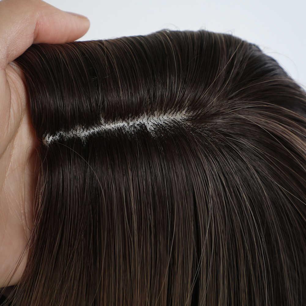 Emmor długi kasztanowy kolor wyróżnij jasnobrązowy faliste syntetyczne peruki do włosów wysoka temperatura warstwowa codzienna peruka Ombre dla kobiet