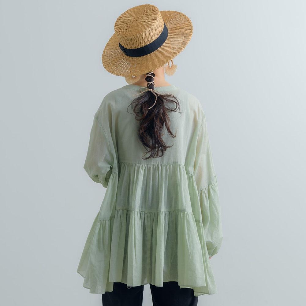 Chiffion Women Blouse Shirts Lantern Sleeve 2020 Autumn Spring Casual Ruffles Shirts Tops Loose Fashion Korean Style Blouse Women Women's Blouses Women's Clothings cb5feb1b7314637725a2e7: black|Green|Khaki|White