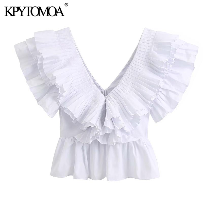 KPYTOMOA Women 2020 Fashion Ruffled Pleated White Blouses Vintage V Neck Sleeveless Female Shirts Blusas Chic Tops
