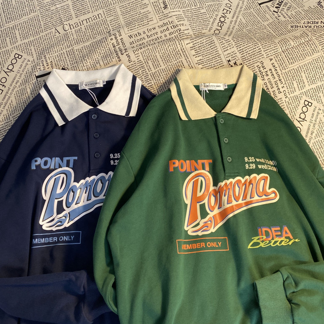Vintage Polo Collar Oversized Hoodies Women Korean Trendy 2021 Autumn Letter Print Sweatshirt Loose Harajuku Top Long Sleeve 1