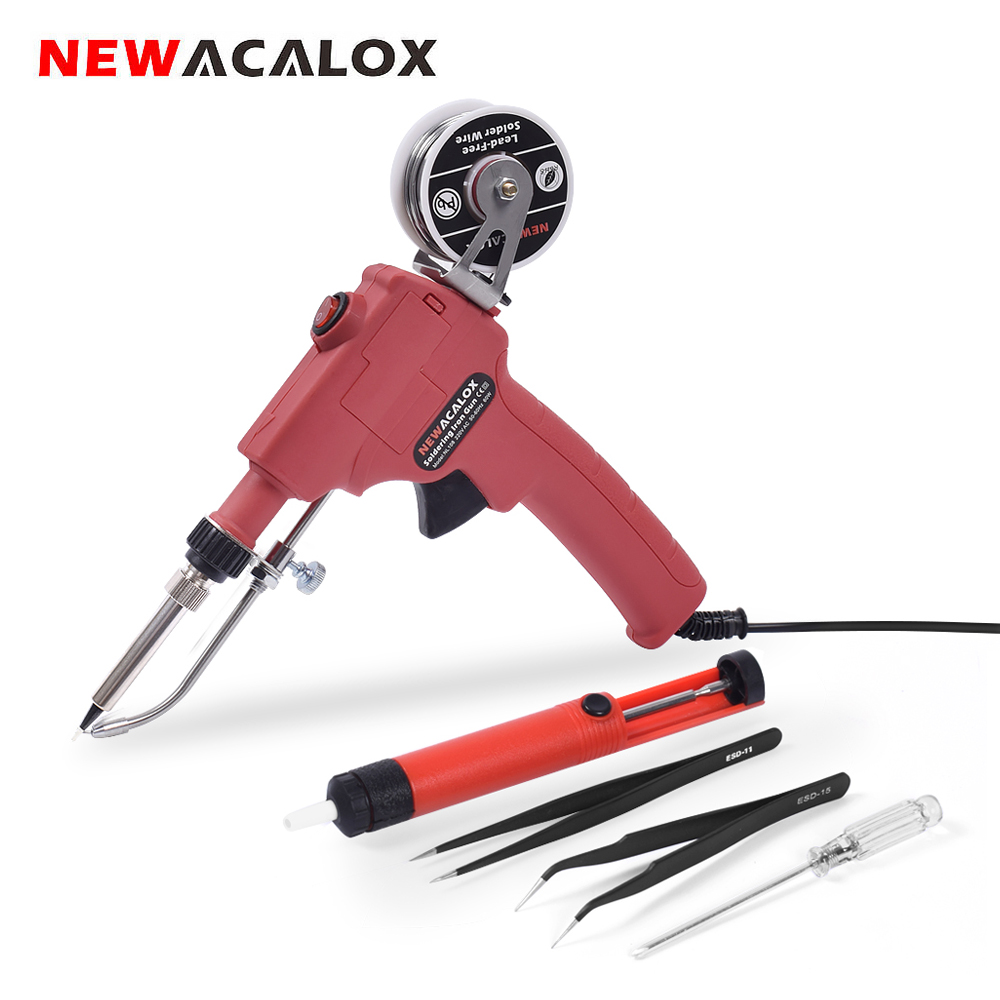 NEWACALOX 60W EU/US Welding Gun Set With Power Switch Soldering Iron Kit Handheld  Automatic Send Tin Gun + Suction Tin Pump