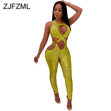 Serpentine Print Sexy Bandage Jumpsuit For Women Waist Band Cut Out Sleeveless Skinny Romper Summer Lace Up Party Club Bodysuit