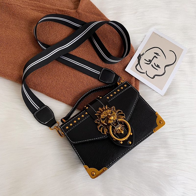 H89912ae1d0e74e90a32df5a1a81b4722H - Female Fashion Handbags Popular Girls Crossbody Bags Totes Woman Metal Lion Head  Shoulder Purse Mini Square Messenger Bag