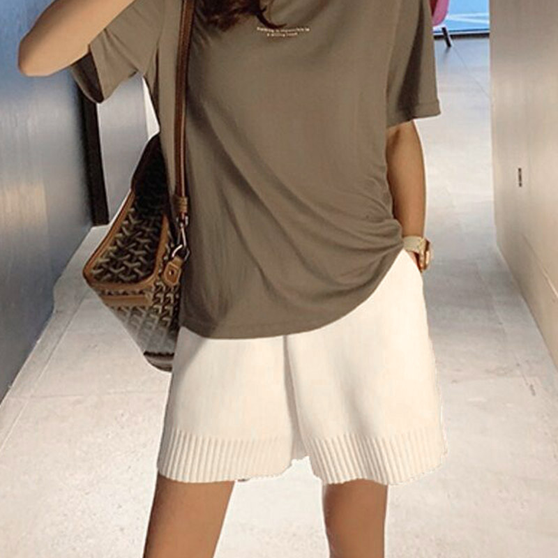 Women Knit Shorts High Waist Summer Straight Cut Wide Waistband Loose GDD99