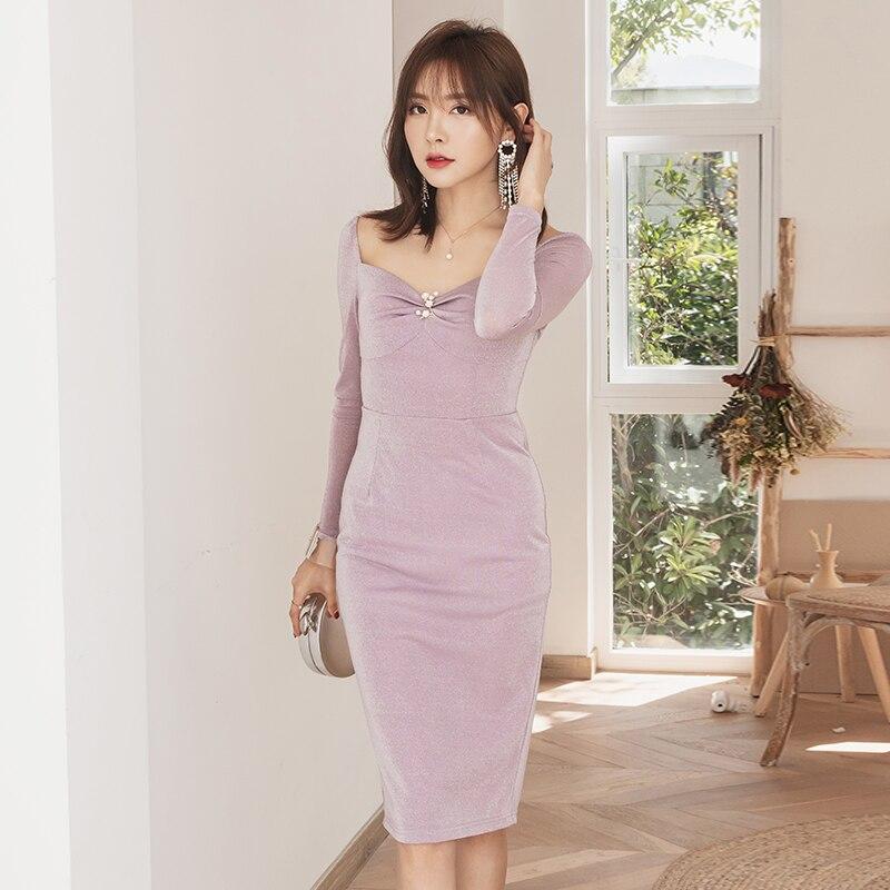 YIGELILA automne nouveautés robe violette col carré manches longues avec robe en cristal gaine genou-longueur robe élégante 65286