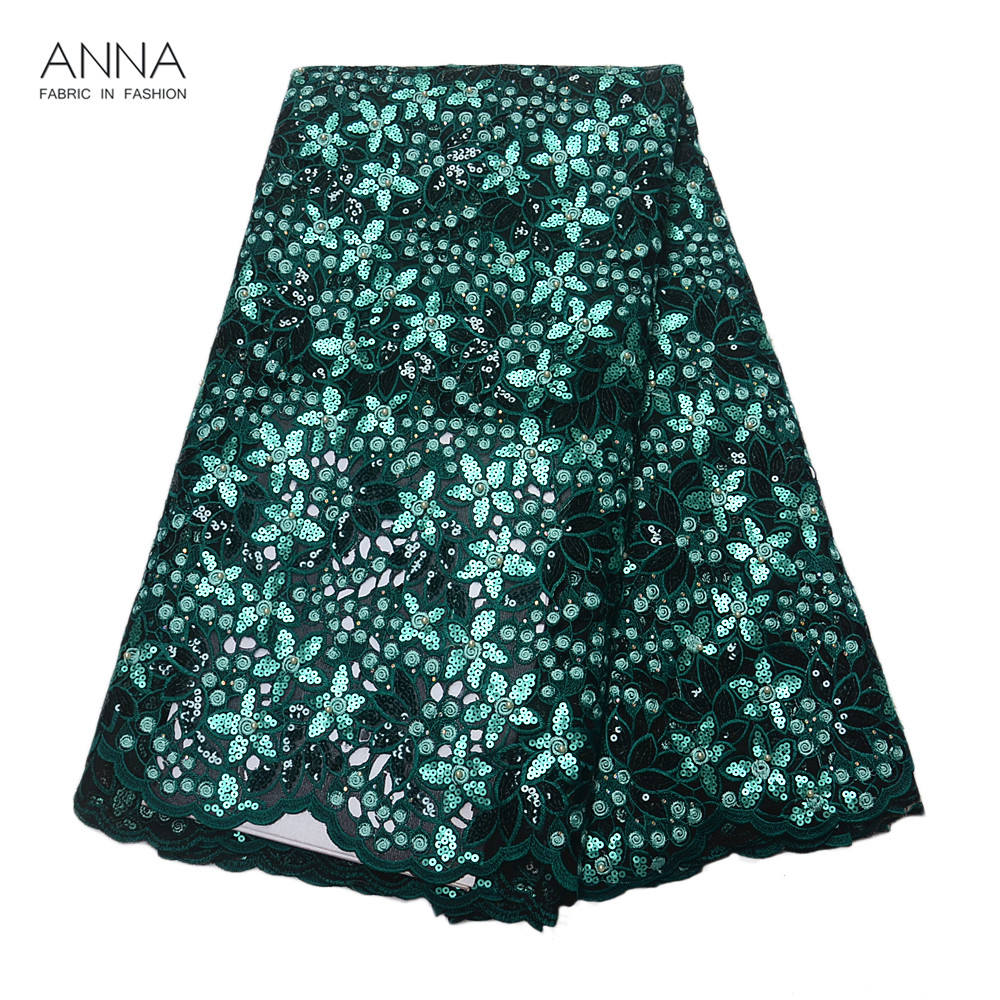 Anna Latest Organza Lace Fabrics High Quality African Sequins Lace Fabric With Beads And Stone Hollow Design 5 Yards For Women