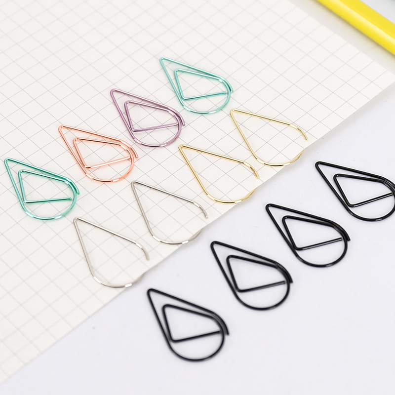 10pcs/lot Water Drop Shaped Metal Clips, Lovely Colored Paper Clips 6 Colors Office Paper Holder