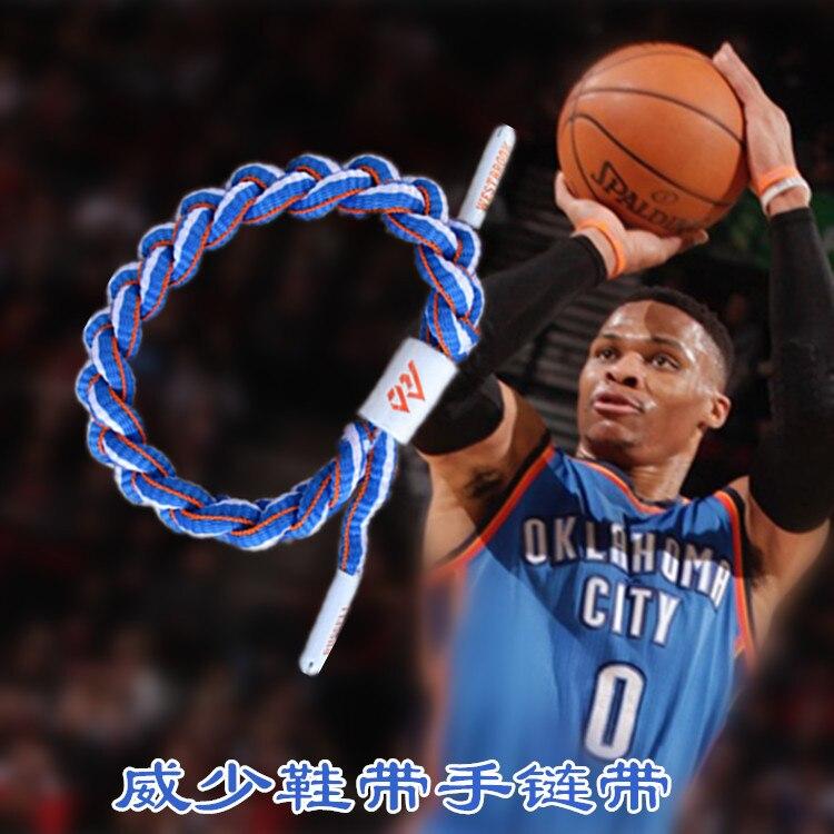 NBA Basketball Star Thunder No. 0 Westbrook Sports Bracelet Wrist Strap Shoe Lace Night Light Bracelet With Fans Ornaments