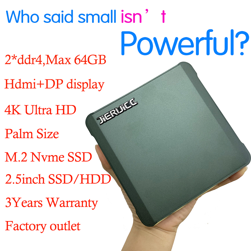 Cheapest Mini Desktop Intel  Pentium 5405U 2*DDR4 M.2 NVMe Pocket Mini Computer Windows 10 USB-C 4K 60fps HDMI2.0 DP Htpc