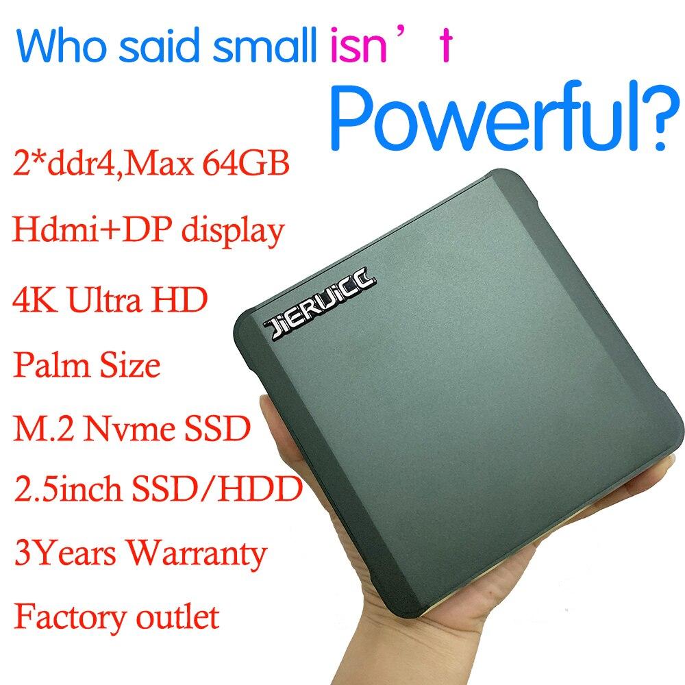 Cheapest Mini Desktop Intel  Pentium 5405U 2*DDR4 M.2 NVMe Pocket Mini Computer Windows 10 USB-C 4K 60fps HDMI2.0 DP Htpc