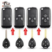 Dandkey 2/3/4 кнопки Flip модифицированный дистанционный ключ с оболочкой для Защитные чехлы для сидений, сшитые специально для Toyota Corolla RAV4 Yaris Prado Camry Корона Avalon TOY43 автомобильные аксессуары