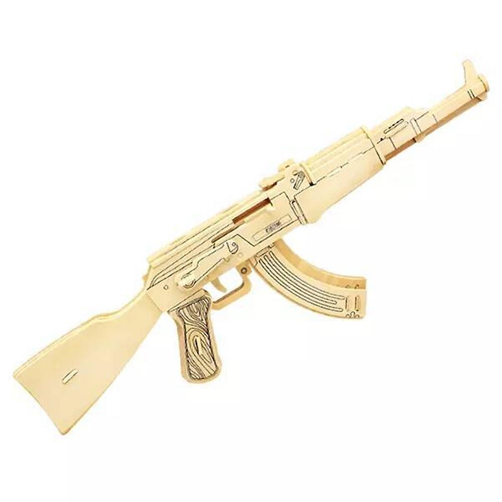 Children's Toy Gun Manual Diy Creative 3d Wooden Stereo Eating Chicken Military Assembled Model Gun Boy Birthday Gift JZXXX