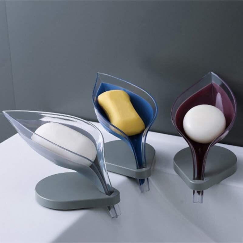 Leaf Shape Soap Box Bathroom Shower Soap Holder Non Slip Drain Soap Box Dish Storage Plate Tray Holder Case Container