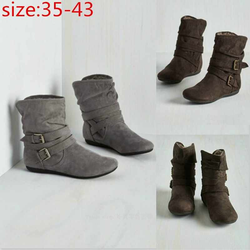 Winter Vrouwen Laarzen Effen Platte Schoenen Combat Riding Enkellaarsjes Lady Fashion Casual Warm Bootie Plus Size 35-43