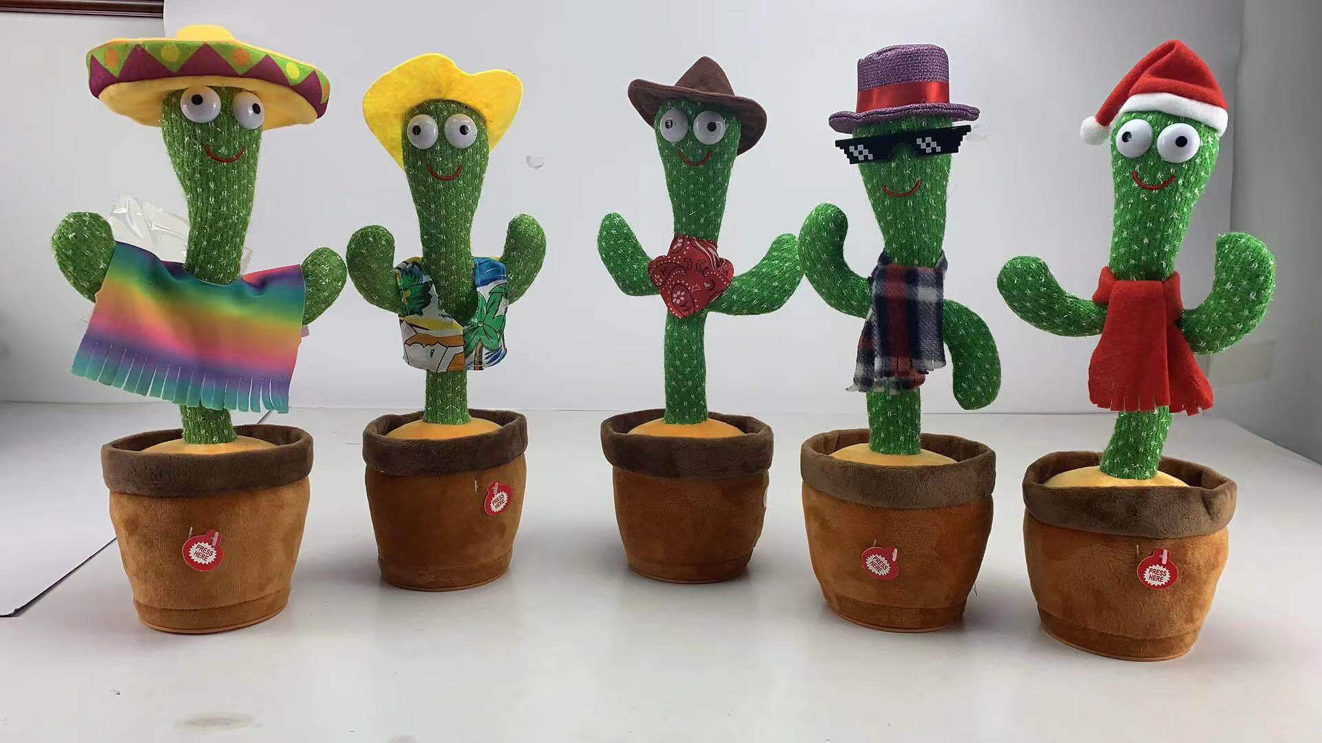 New Electronic Dancing Cactus Singing Dancing Decoration Gift for Kids Funny Early Education Toys Knitted Fabric Plush Toys