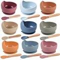 Детская силиконовая миска, кормушка, посуда, ложка, водонепроницаемая миска на присоске, детская посуда, набор силиконовых тарелок, посуда, ...