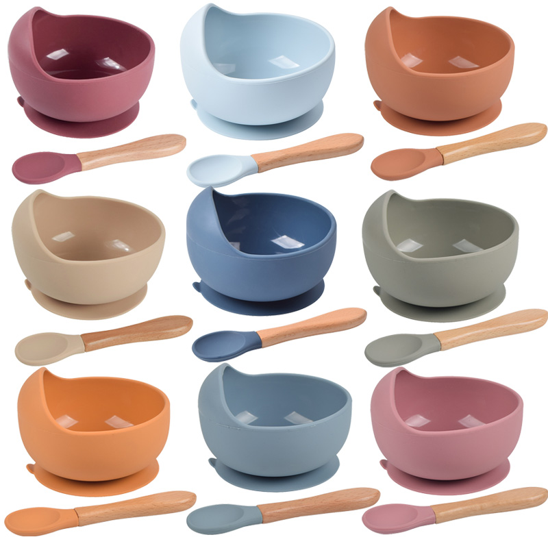 Tazón de silicona para bebé, vajilla, cuchara, tazón de succión impermeable, vajilla para niños, juego de platos de silicona, utensilios de cocina