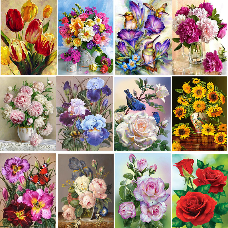 5D DIY Diamond Painting Bloemen Cross Stitch Flower Embroidery Mosaic Full Square Round Drill Wall Decoration Handcraft Gift