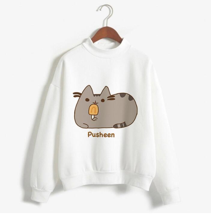 Women Sweatshirt Pusheen Cat Printing  Woman Fashion Cotton T-Shirt Spring Autumn Long Sleeve Casual T-shirt  Women Loose Tops