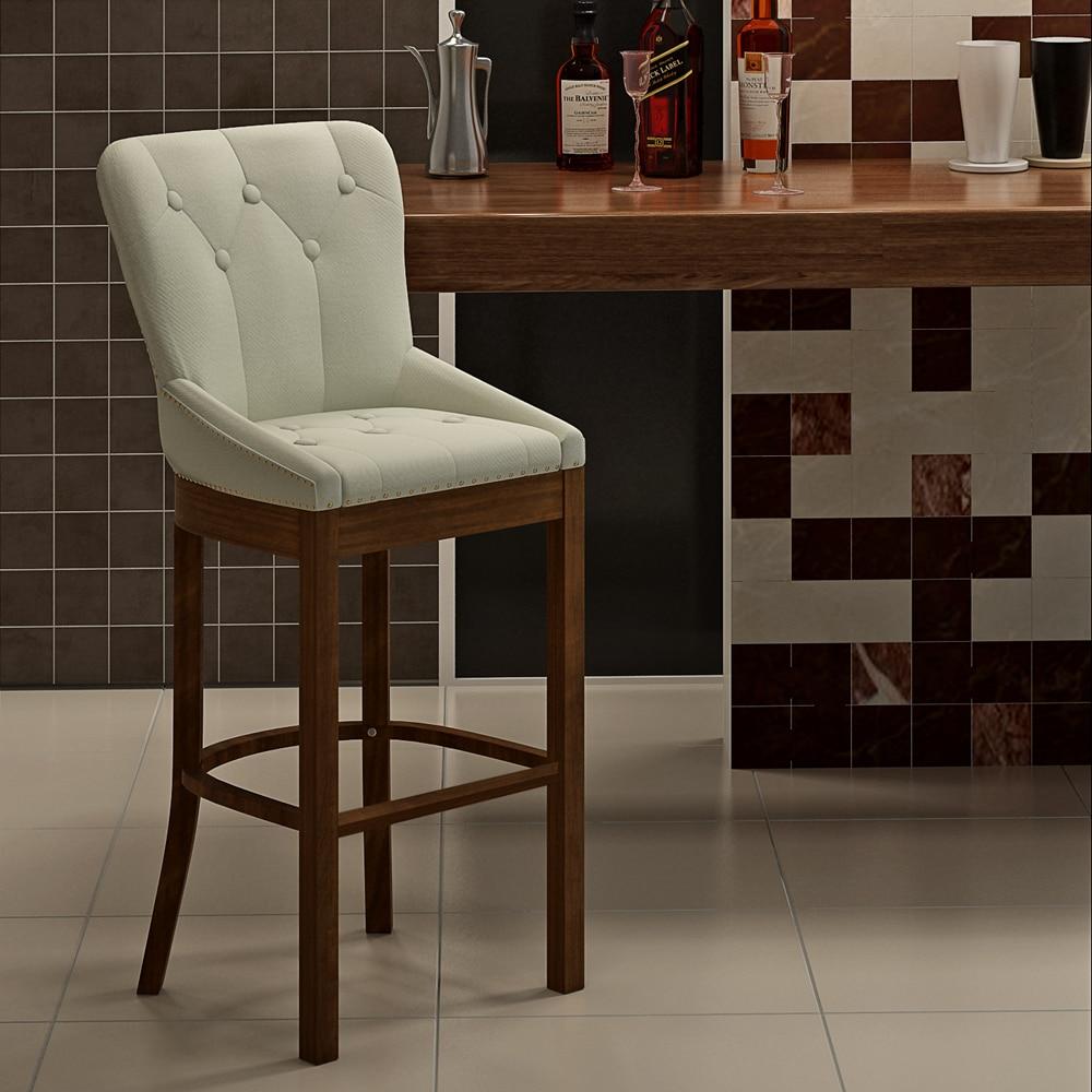Panana High Bar Stool Velvet Pad Solid Wood Leg Chair Tufted Light Deep Stud With Knocker