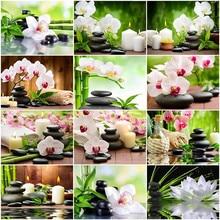 HUACAN – peinture par nombres de pierres d'orchidées, tableau mural moderne peint à la main, Kits de fleurs, cadeaux uniques