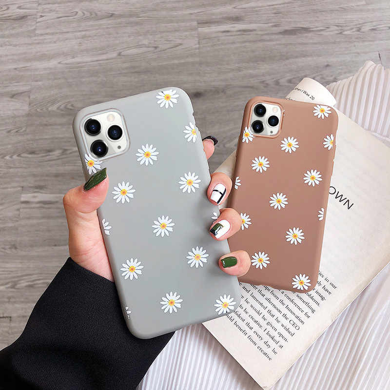 Custodia per cellulare moskado Art Floral Daisy per iPhone 11 X XR XS Max 6S 7 8 7Plus 5 Fashion Daisy Flower Case Cover posteriore in TPU morbido