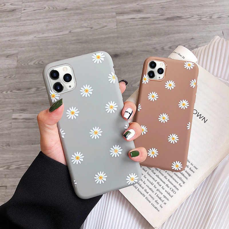 Moskado アート花デイジー電話ケース iphone 11 × xr xs 最大 6 s 7 8 7 プラス 5 ファッションデイジーの花のケースソフト tpu カバー