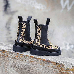 Image 5 - MORAZORA 2020 top quality horse hair ankle boots for women Leopard autumn winter boots slip on thick heels casual shoes woman