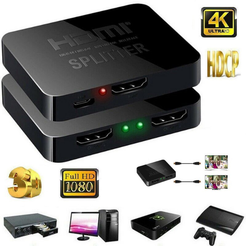 Multi-function 1 In 2 Out 1080p HDMI 4K 1*2 HDCP Stripper 3D Splitter Power Signal Amplifier