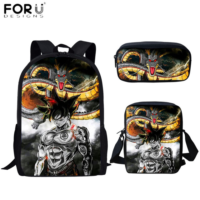 FORUDESIGNS Student Backpack Ultra Art Dragon Ball Z 3D Printing Goku Design Boys Girls School Bags Pen Book Daypack Mochilas