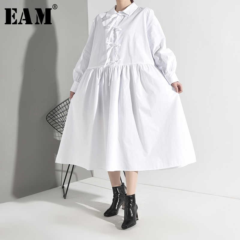 [EAM] женское Плиссированное Платье рубашка с разрезом большие размеры новинка