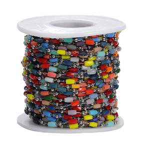1 м/лот 3 мм кабельная цепь из нержавеющей стали со стеклянными бусинами цепи для ожерелья браслеты ножной браслет для изготовления ювелирны...